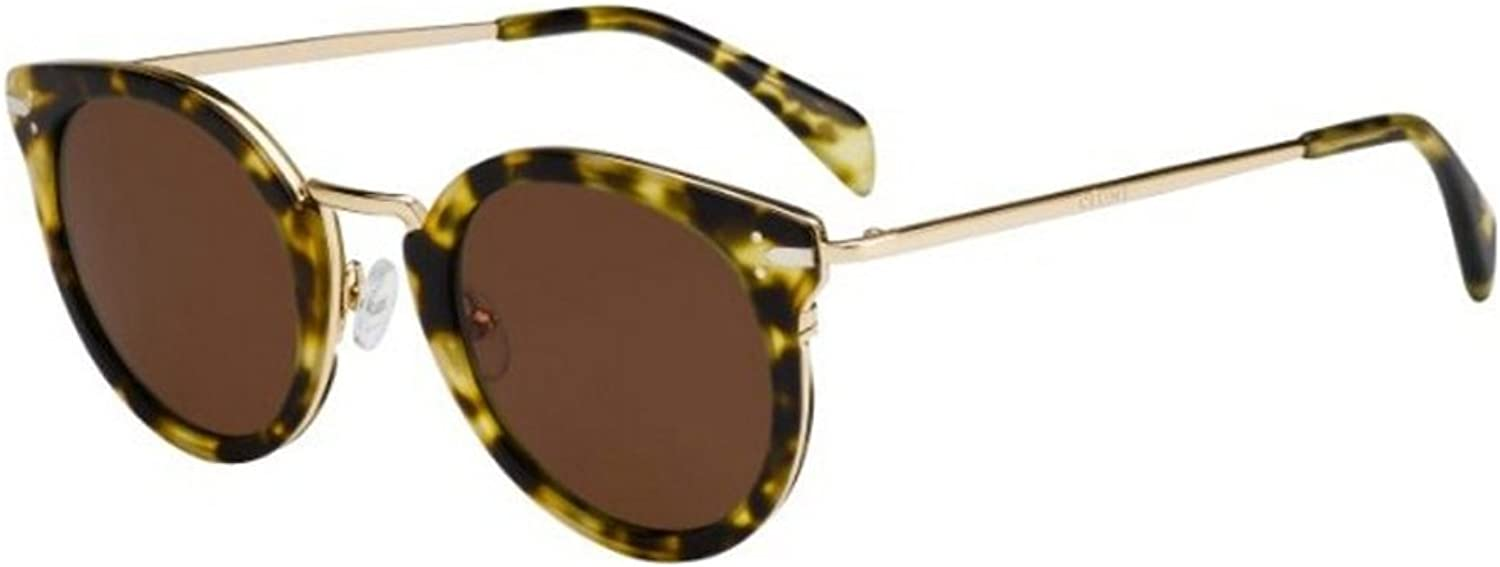 Celine Women's 41373 Green Tortoise   gold Frame Brown Lens Metal Plastic Sunglasses