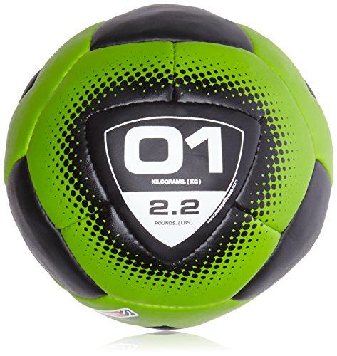 ESCAPE Vertmini-Mini Gymnastikball Fitnessball Gewichtsball für Groupfitness-1kg Medizinball, schwarz/Grün, 1kg