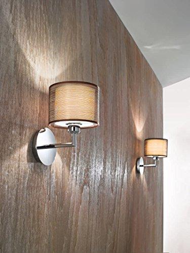 Applique con paralume Perenz 5976 Applique da parete con montatura in cromo lucido e paralume in tessuto