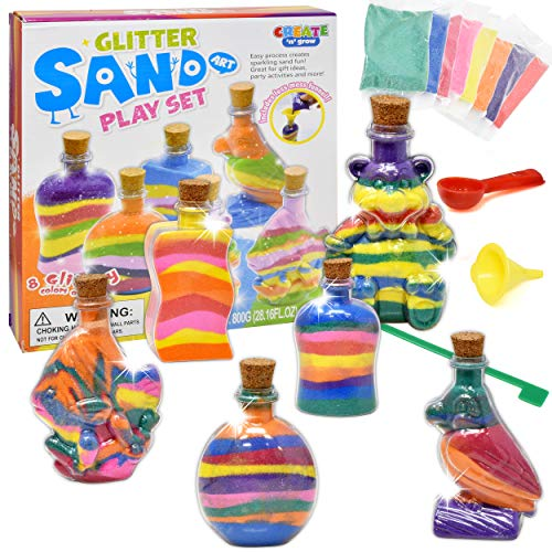 Create Your Own Sand Art Kit for Kids, Rainbow Colored DIY Activity Craft Set Includes 6 Shaped Sand Bottles, Sand Tool, Spoon, Funnel and 8 Colors of Glitter Sand