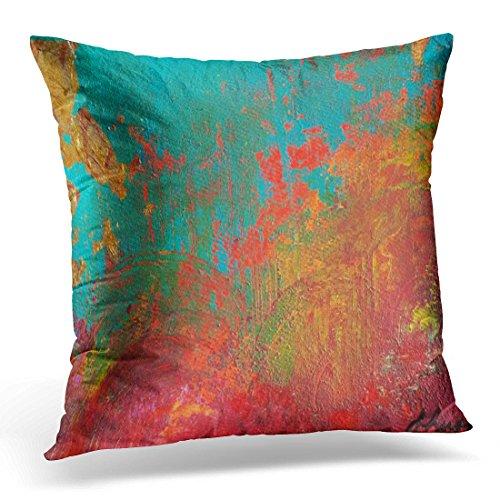 TORASS Throw Pillow Cover Orange Turquoise Gigi's Red Aqua Decorative Pillow Case Home Decor Square 18x18 Inches Pillowcase