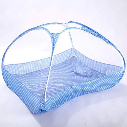 WLD klamboe zomer bed met hemel voor kinderen klamboe klamboe klamboe rond inklapbaar met bodem voor babybed kinderbed 120 × 65 × 60 cm, blauw  Rosa Roja