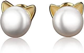 MoonCat Cat Ear Stud Earrings Pearl Stud Earring Ear Studs