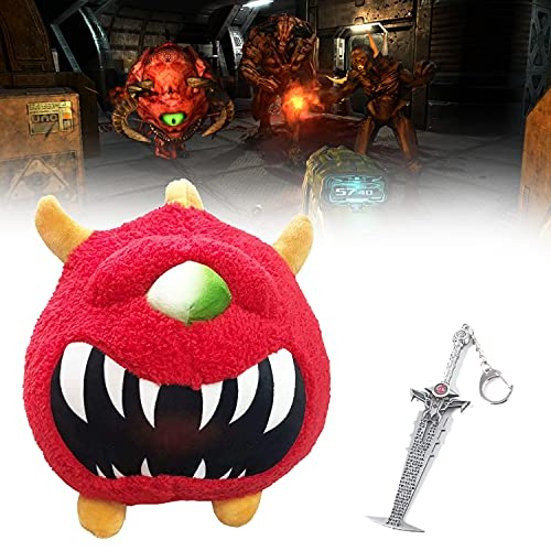 FANGMINGLEI Doom Classic Plush, Doom Classic Cacodemon Plush Toy, Come with Metal Pendant Keychain, Cute Devil Plush Doll, 25cm Kawaii Stuffed Soft Animal Pillow, for Boys Girls and Game Fans