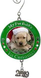 Banberry Designs Pet's First Christmas 2019 - Photo Ornament with 2019 Charm and Engraved My Fur Baby's 1st Christmas