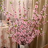 Lot de 5 Branches de Cerisier artificielles 65 cm en Soie pour décoration de Salon, Chambre, hôtel, fête de Mariage ,Rose