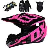 Casco de Motocross para Niños, Casco de MTB de Integrales con Gafas Guantes Máscara, Casco de Choque de Moto Adultos para Downhill Quad Enduro Racing Dirt Bike - con Diseño FOX - Rosa Negro Brillante