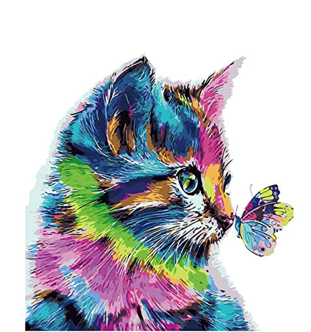 """Paint-by-Number Kits for Adults - Passion (Frameless) - Includes Brushes, Acrylic Paints and Numbered Canvas - Frameless - 16"""" x 20"""" – Great for Kids and Adults (Cat and Butterfly)"""