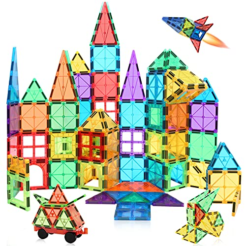 MagHub 85PCS Kids Magnet Toy Magnetic Tiles Shape,3D Magnetic Building Blocks Set, Magnetic Stacking Toys Construction Kit, Preschool Learning Educational Toy for Toddlers Children Boys Girls
