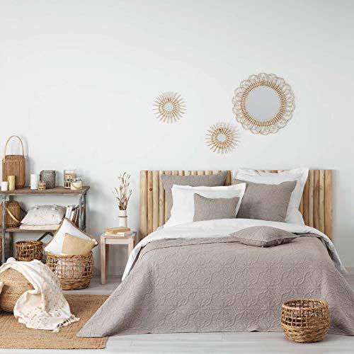 Douceur d'Intérieur Tagesdecke für Doppelbett, gesteppt, 220 x 240 cm, Mikrofaser, einfarbig, Lavee Florette Taupe, 100 % Polyester