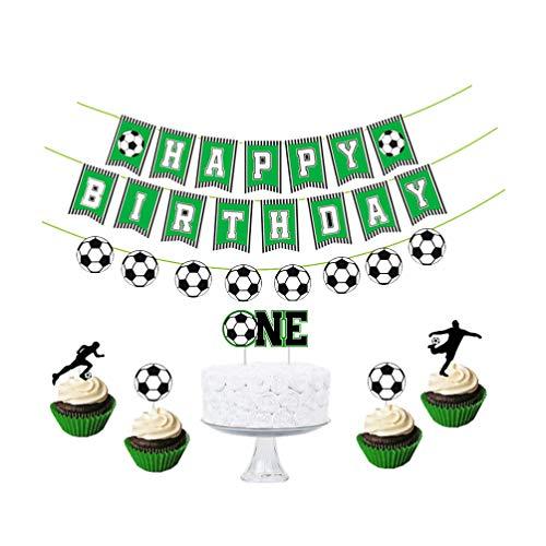 Amosfun Feliz Cumpleaños Banner One Cake Topper Fútbol Cupcake Topper Picks Baby Boy Shower Party Decoracion Suministros