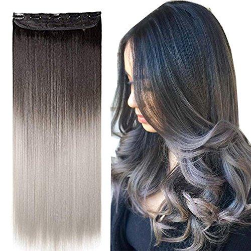 Extension Capelli Clip in Hair Lisci Grigi Fascia Unica 63cm Allungamento Posticci Donna 3/4 Fulle Head 120g - Marrone Scuro a Grigio Argento