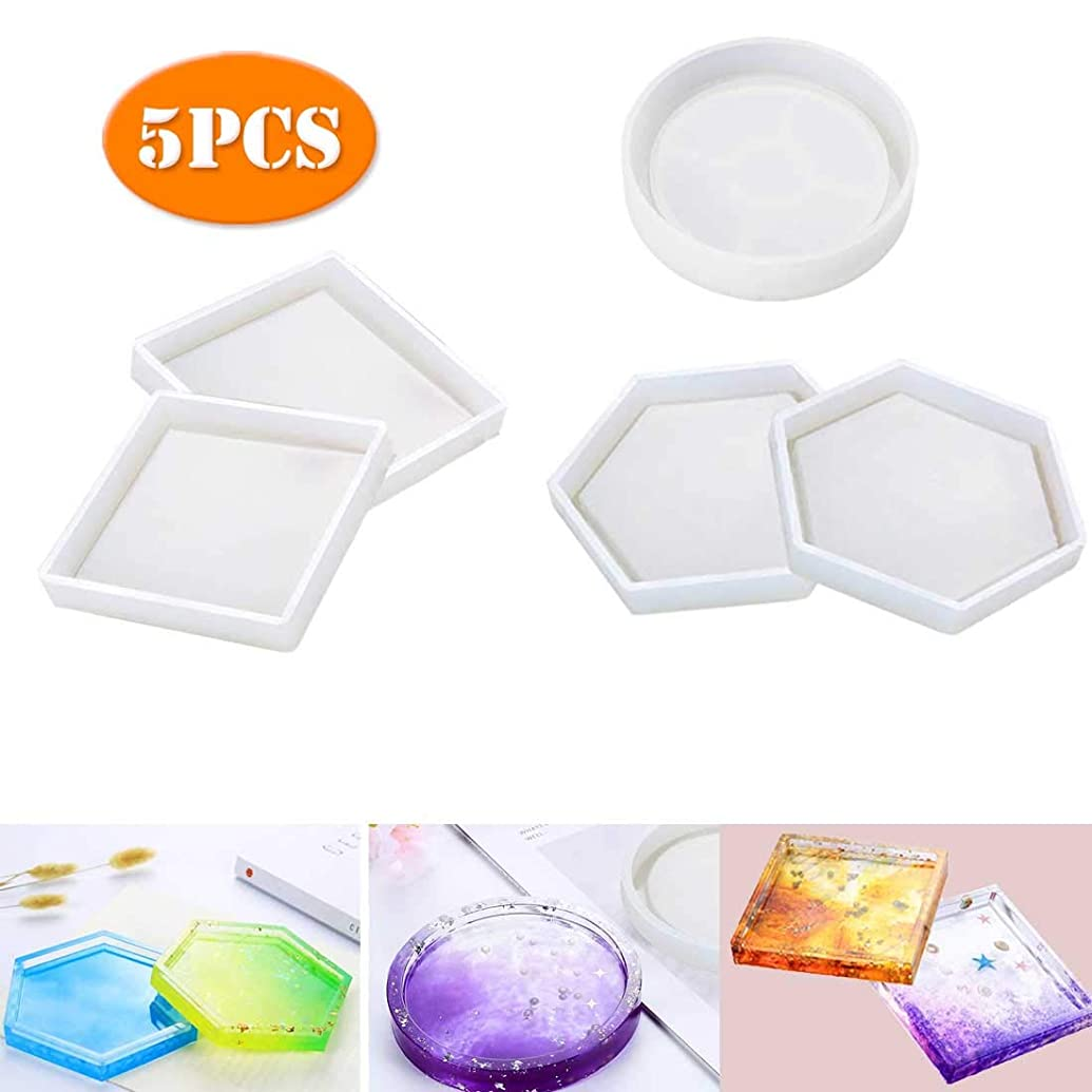 5 Pack DIY Coaster Silicone Model,Including Hexagon,Square,Round Model,Bottom Bracket Prevents Deformation, Model for Casting with Resin, Concrete, Cement (5 Pack)