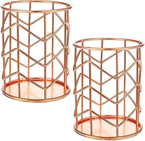 MAILIER 2 soportes para lápices, organizador de brochas de metal, sin tapa, para escritorio, oficina (oro rosa)