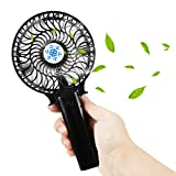 Mini Ventilator, Samione USB Handventilator Leise/Tragbarer Ventilator Faltbar Lüfter Geschwindigkeit und Einstellbar Winkel Outdoor-Reisen tragbarer Handfächer - Schwarz