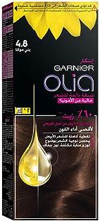 غارنييه اوليا، 4.8 موكا، صبغة شعر دائمة خالية من الامونيا، مع زيوت 60%