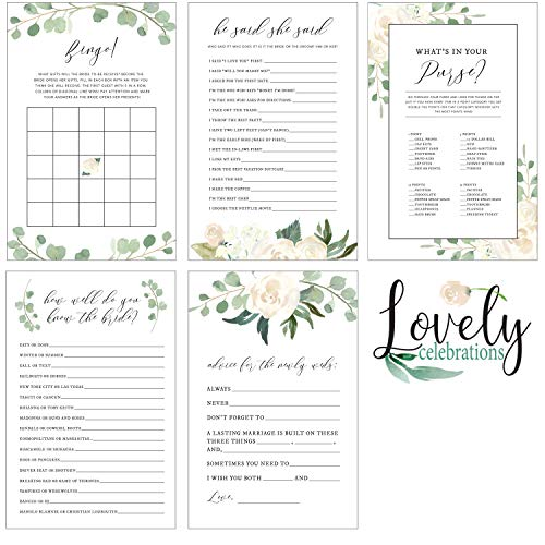 Lovely Celebrations: Bridal Shower Games Set Generic Floral Design Match Any Decorations (Standard Paper)