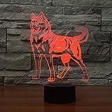 DFDLNL Animal Huskie Dog Designs Night Lights 7 Cestas de Regalo cambiantes para Perros Decoración para el hogar Regalos Personalizados para Perros