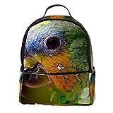 KAMEARI Mochila para la escuela, loro, guacamayo, cabeza de pájaro, mochila informal para viaje con bolsillos laterales para botella