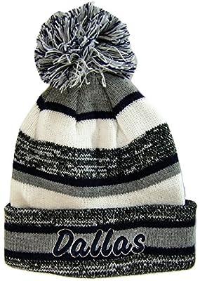 Dallas Adult Size Tri-Color Winter Knit Pom Beanie Hats