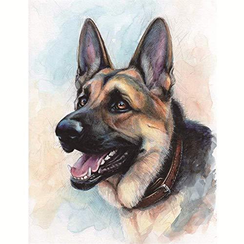 SUNKOO DIY Diamond Painting Dog Full Drill German Shepherd Paint with Diamonds Dog Embroidery Kits Arts for Wall Decor,12×16'