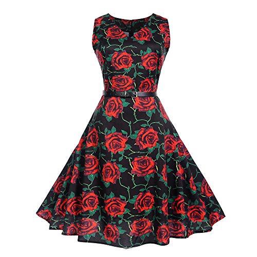 MRULIC Cocktailkleider Damen Prinzessin Abendkleid Vintage Kleid Hepburn Kleid Ärmellos Sommer...