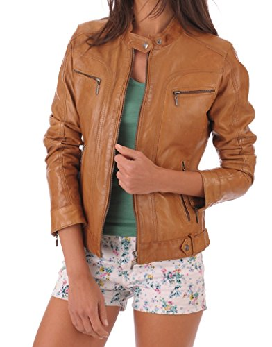 Leather Market Women's 100% Lambskin Leather Bomber Biker Jacket Outfit Large Tan
