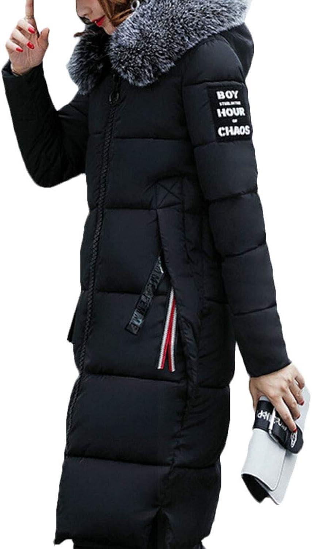 Gocgt Womens Long Overcoat Faux Fur Slim Thick Hooded Down Jacket