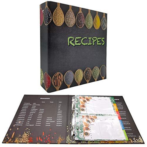 "rnairni Recipes Book Binder Set   9.5"" x 8.5' Recipe Organizer Binder & 30 Recipe Cards & 10 Dividers & 30 Plastic Page Protectors"