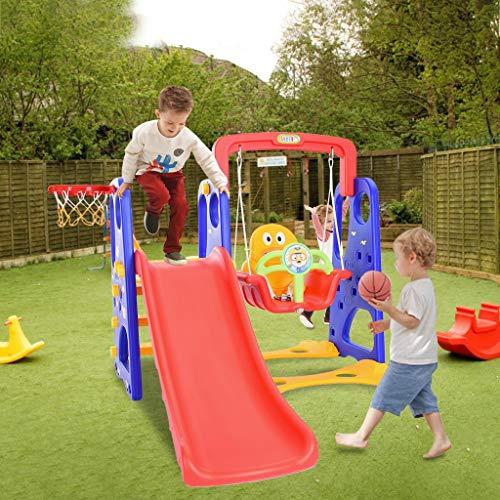 PJLTOP Kids Climber Swing Set Freestanding Slides Toddler Climber Swing Set Toddler Mountaineering and Swing Set Sturdy Slides Swing Set Easy Setup for Outside Games