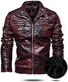 chaquetas de moto Chaqueta de cuero ventilada for hombres Soporte de cuello caliente PU Chaqueta de motocicleta con cremallera Abrigos clásicos vintage ( Color : Dark Red , Size : 3XL-3XLarge )