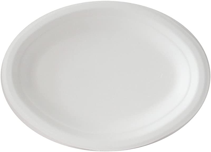 Go Green Eco Friendly 100 Compostable Sugarcane Fiber Disposable 7 5 X 10 Oval Plate 125 Pack