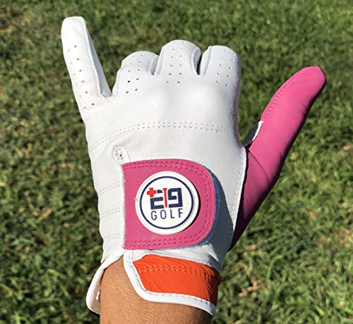 E9golf Tour Performance Leather Golf Glove– Premium Gloves For Women – Original White, Pink and Orange Design – Ultra Soft Leather – Perfect Design For A More Stylish Game – Breathable and Comfortable