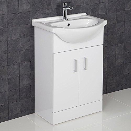 ESSENTIALS 550mm Bathroom Vanity Unit & Basin Sink Floorstanding Gloss White Tap + Waste