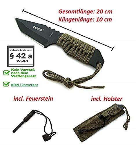 VIKING GEAR® Military Tactical Survival Knife + Feuerstein und Paracord - Fallschirmleine - BW Outdoor Camping Jagd Angeln Prepper Biwak Survival Messer Oliv schwarz