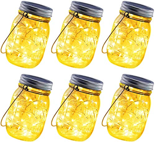 ANGMLN Solar Hanging Mason Jar Lights 6 Pack 30 LED String Fairy Lights Solar Laterns Table Lights 6 Hangers Star Sticker and Jars Included Outdoor Decor for Patio Garden Yard Fence Pathway Gazebo