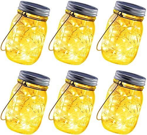 ANGMLN 6 Stück Solarlampen fur Garten 30 LED Wetterfest Solar Einmachglas Aussen Lampions Lichterkette im Glas Gartendeko Solarleuchten für Weihnachten Außen Laterne,Hochzeit, Party,Wand, Tisch, Baum