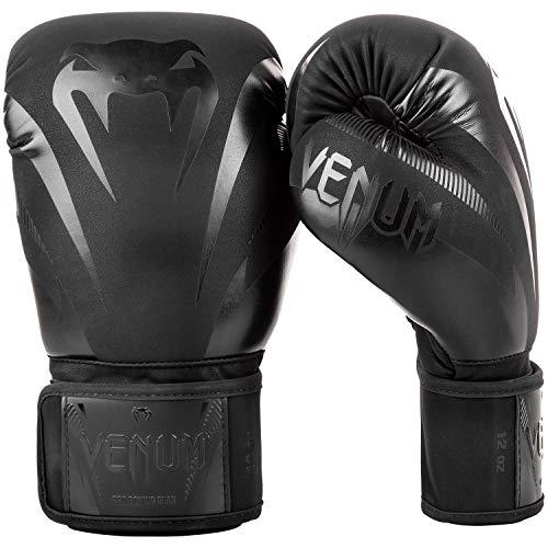 Venum Unisex– Erwachsene Impact Boxhandschuhe, Schwarz/Matte Schwartz, 16 oz