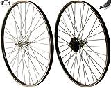 Redondo 28 Zoll Laufrad Set Hinterrad Vorderrad 28' Felge Schwarz + 7-Fach Kranz
