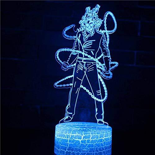 3D LED Tischlampe Japanischer Anime Cartoon Movie Game Charakter Supermacht Dekoration Nachtlicht Kinder Junge Geschenk Schädel Mann