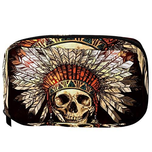 Bolsas de cosméticos American Tribal Chief pluma sombrero calavera práctica bolsa de viaje Oragniser bolsa de maquillaje para mujeres y niñas