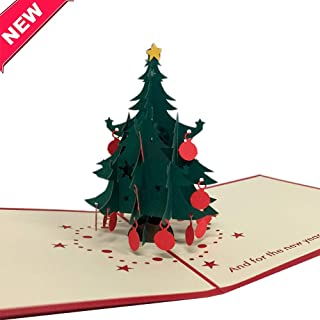 3D Pop up Card Merry Christmas, Adorable Handmade Gift - Greeting cards for Christmas/New Year, Christmas tree. Includes text: