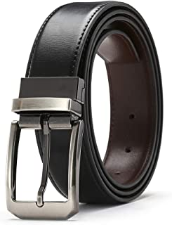 "Genuine Leather Reversible Belt for Men With Single Sponge 1.3"" Rotated Buckle,7 Holes in Gift Box"