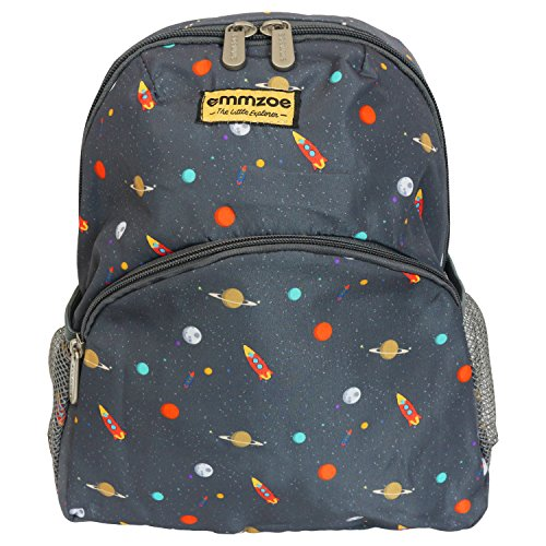Emmzoe 'Little Explorer' Mini Toddler and Kids Backpack - Lightweight - Fits Lunch, Table, Food, Books (Galactic Space)