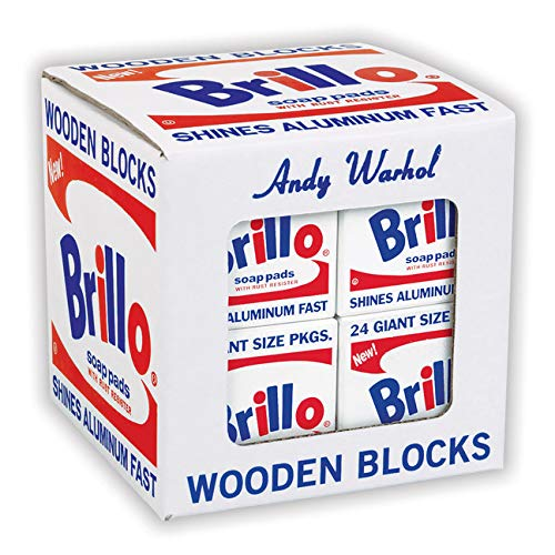 Mudpuppy Andy Warhol Brillo Wooden Blocks - 8 Pieces, 7 White and 1 Yellow Brillo Box Sculptures, Perfect for Children and Adults Ages 2+