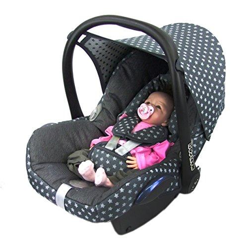 BAMBINIWELT Ersatzbezug für Maxi-Cosi CabrioFix 6-tlg, Bezug für Babyschale, Komplett-Set STERNE DUNKELGRAU XX