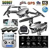 Kingko Drone Pliables ,SG907 GPS Drone avec 4K HD Double caméra Grand Angle Anti-Shake WiFi FPV Quadricoptère RC GPS Professionnel Suivez-Moi Distance de contrôle: 500m ,Mode Position GPS (B)