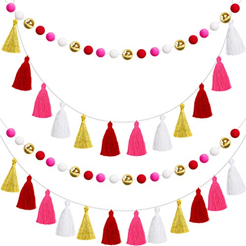 Syhood 4 Pieces Pom Pom Tassel Garlands Colorful Cotton Tassel Garlands Rainbow Felt Balls Garland Banners for Christmas Valentine's Day Home Wall Hanging Decorations, Pre-Assembled