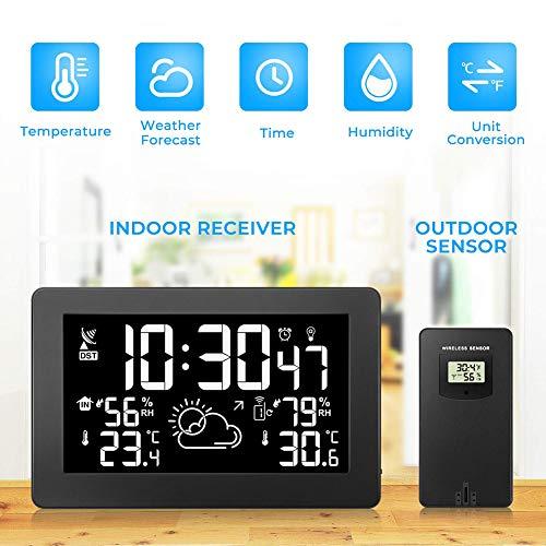 SanyaoDU Digitale led-wekker, weerstation, wifi, voor binnen en buiten, groot display, temperatuur, luchtvochtigheid, weersvoorspelling, klok