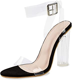 Women's High Heels Clear Strappy Block Sandals Ankle Chunky Heeled Platform Dress Pump Holidays Party Shoes